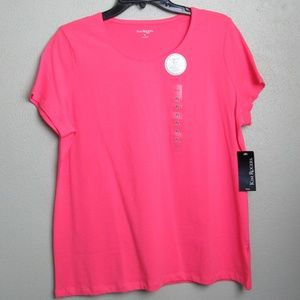New Pink Short Sleeve Ring Neck Shirt Size PL